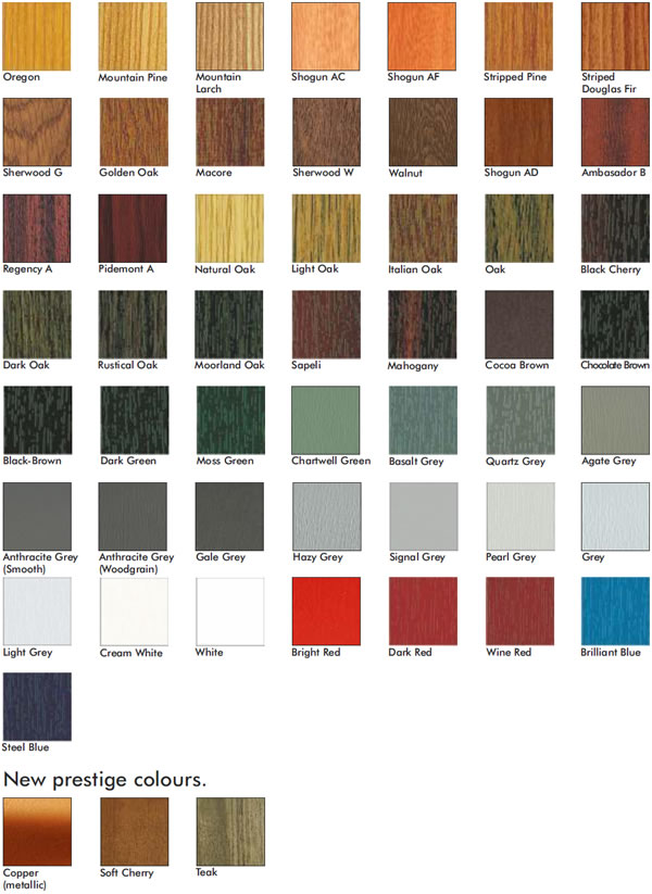 All of the different colours which are avaliable for the garages
