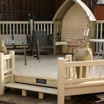 Light beige wooden coloured decking
