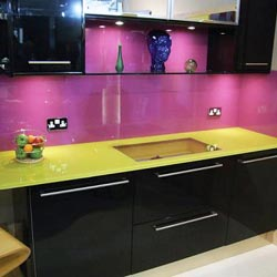 Look at the pink coloured splashback wall