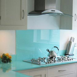 Look at the blue coloured splashback wall